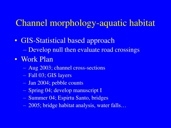 Channel morphology-aquatic habitat