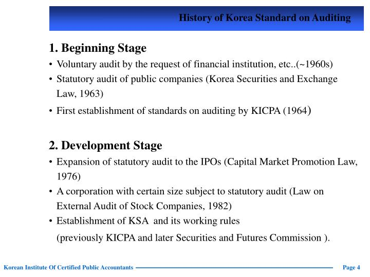 History of Korea Standard on Auditing