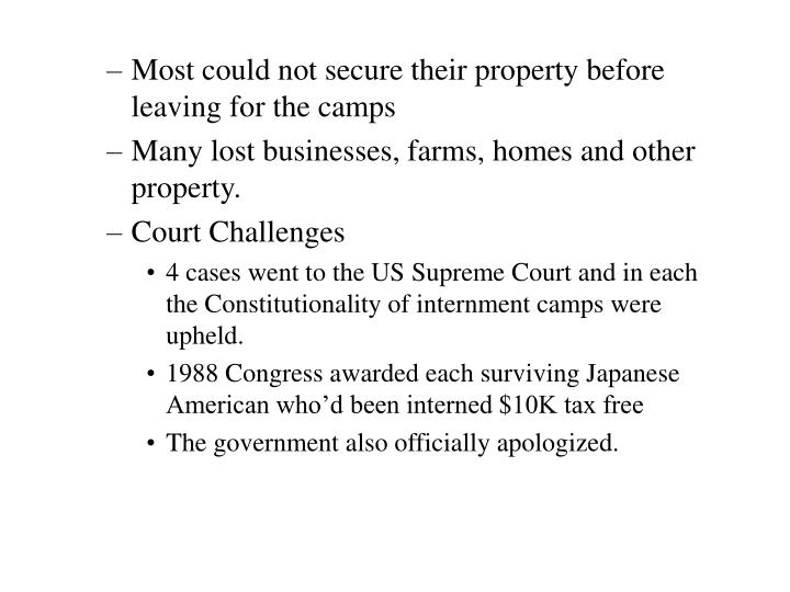 Most could not secure their property before leaving for the camps
