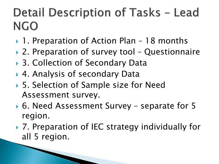 Detail Description of Tasks – Lead NGO