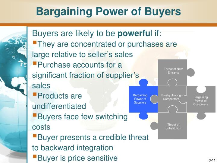 how good is the bargaining power of suppliers for a cafe Definition of bargaining power of suppliers: advantage that results when (1) suppliers are concentrated it is, however, usually illegal for them to openly or secretly form a cartel, (2) too few goods are chased by too many buyers, (3) a.