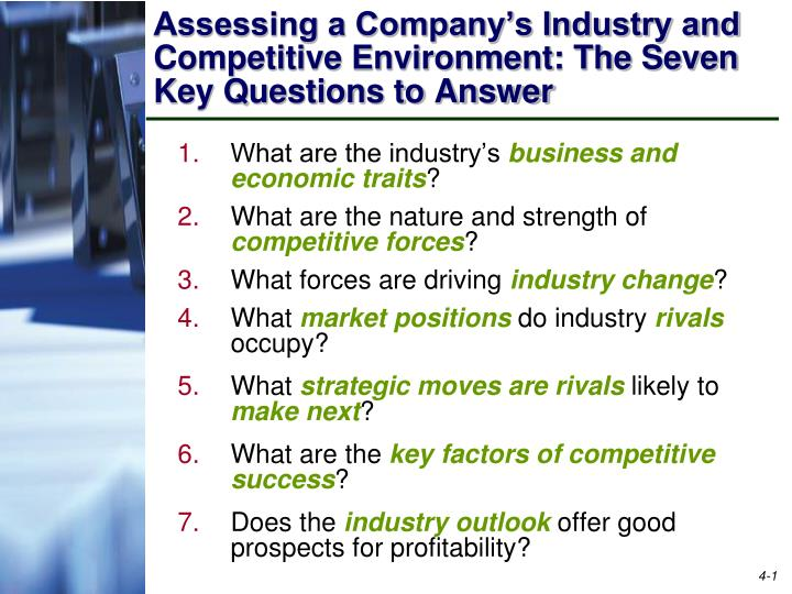 assessing a company s industry and competitive environment the seven key questions to answer n.
