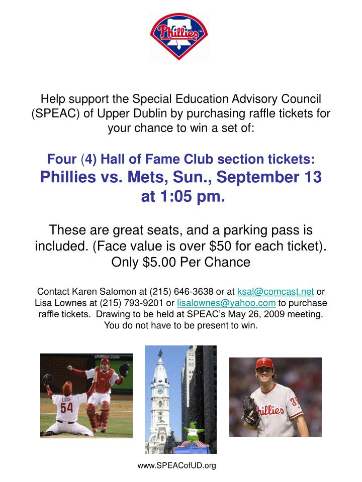 Help support the Special Education Advisory Council (SPEAC) of Upper Dublin by purchasing raffle tic...