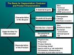 the basis for segmentation customer and product characteristics