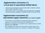 agglomeration economies 1 a local pool of specialised skilled labour