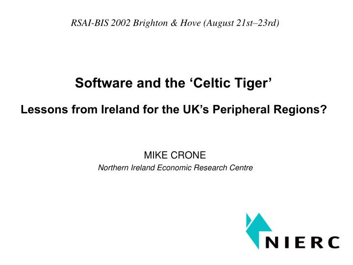 software and the celtic tiger n.