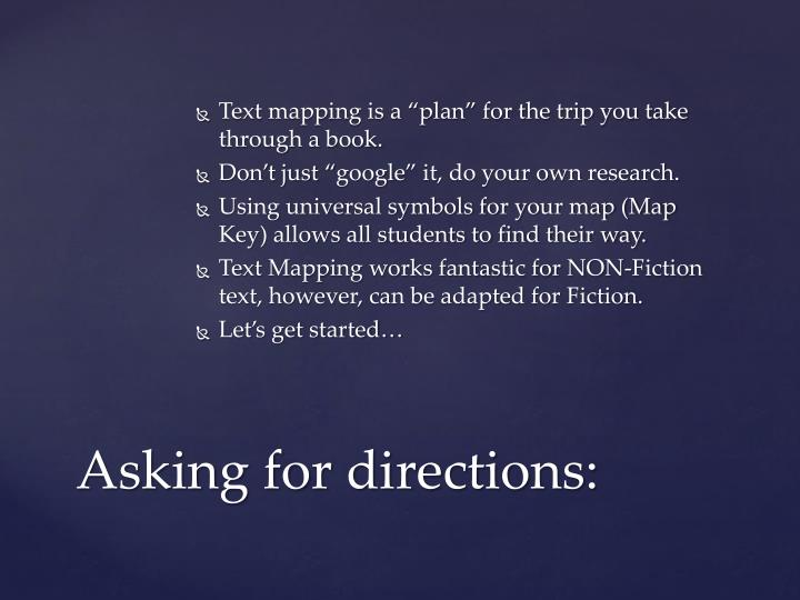 """Text mapping is a """"plan"""" for the trip you take through a book."""