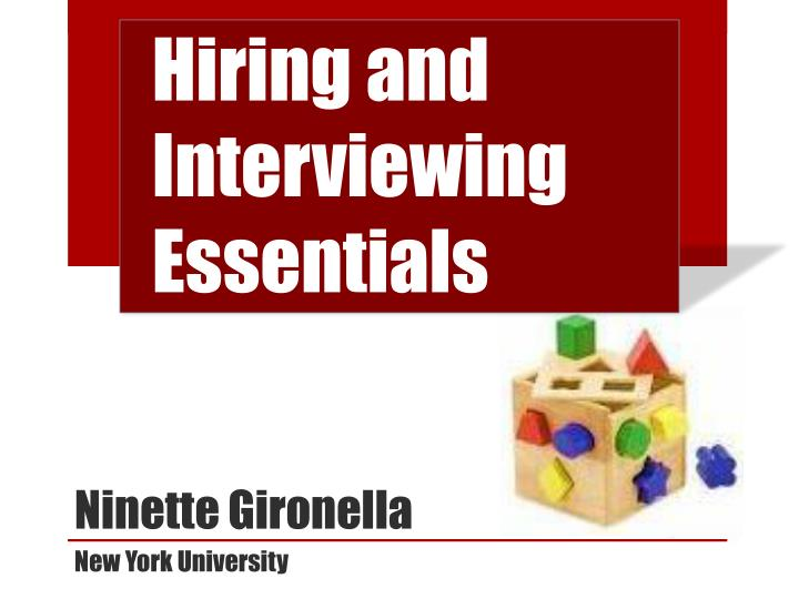 hiring and interviewing essentials n.