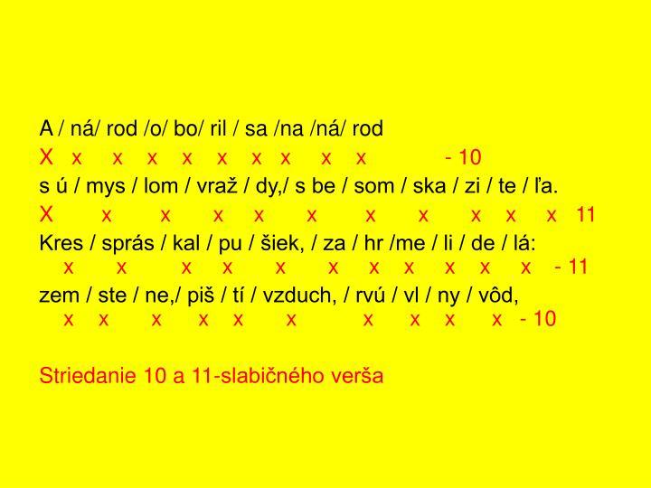 A / ná/ rod /o/ bo/ ril / sa /na /ná/ rod