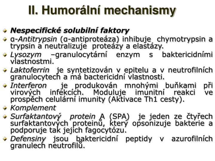 II. Humorální mechanismy
