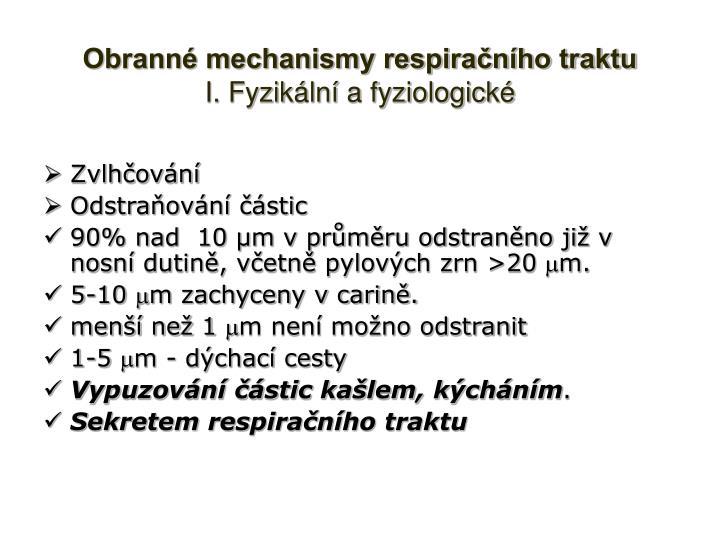 Obranné mechanismy respiračního traktu