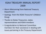 ksaa treasury annual report 2009