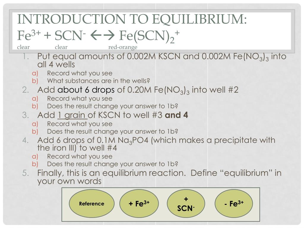 Ppt Introduction To Equilibrium Fe 3 Scn Fescn 2