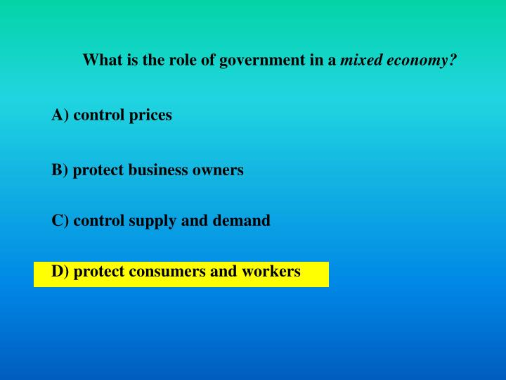 What is the role of government in a