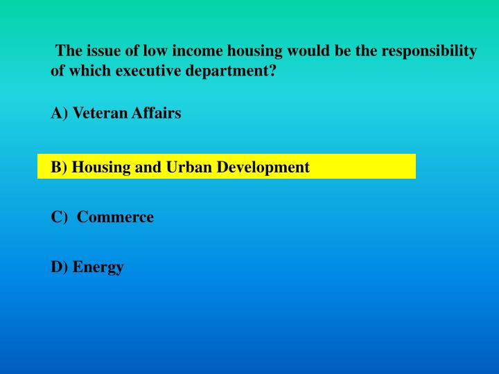 The issue of low income housing would be the responsibility of which executive department?