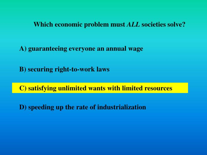 Which economic problem must