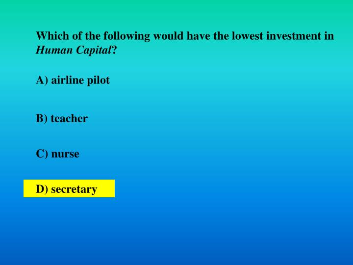 Which of the following would have the lowest investment in