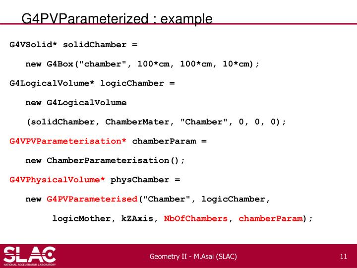 G4PVParameterized : example