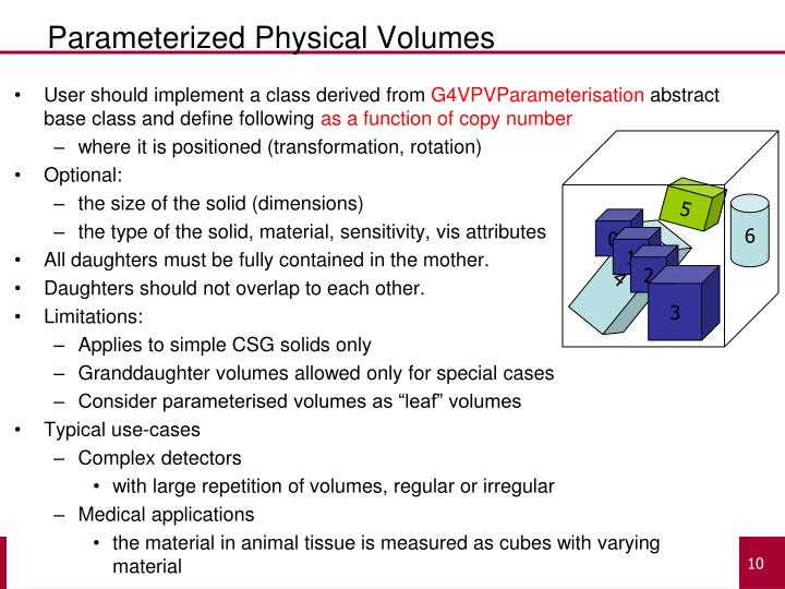 Parameterized Physical Volumes