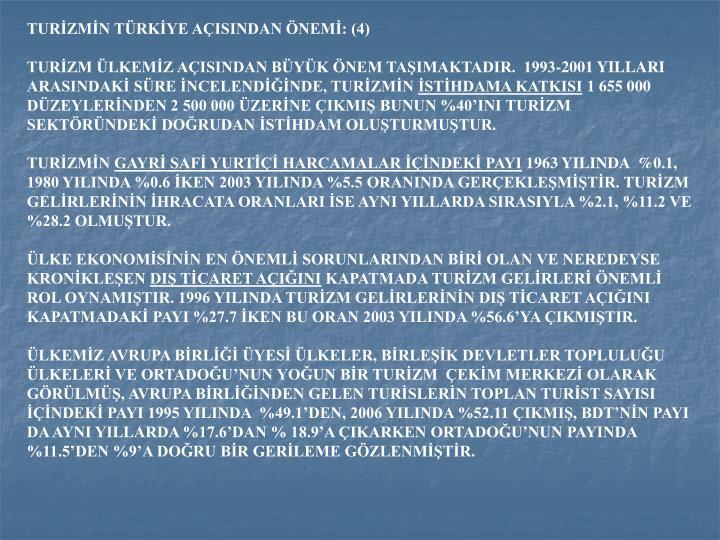 TURİZMİN TÜRKİYE AÇISINDAN ÖNEMİ: (4)