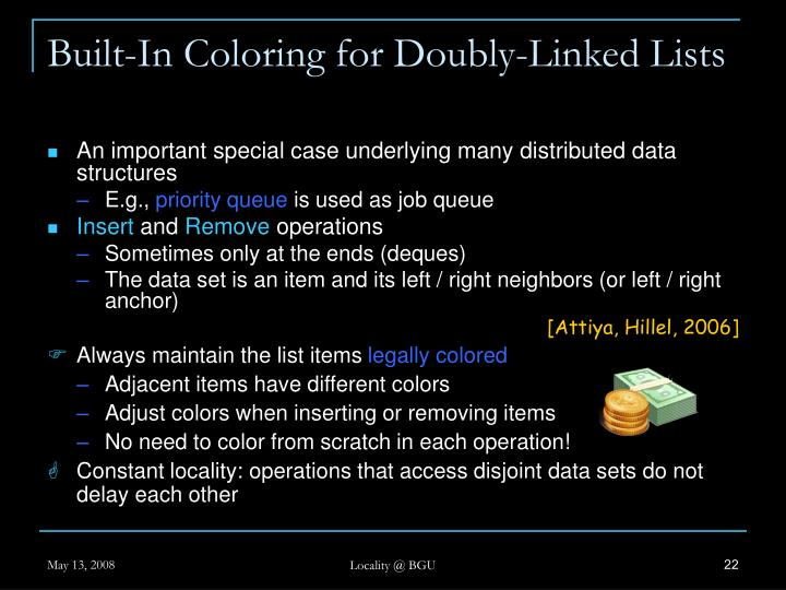 Built-In Coloring for Doubly-Linked Lists