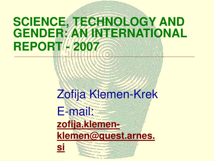 Science technology and gender an international report 2007