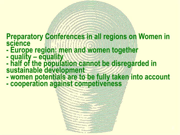 Preparatory Conferences in all regions on Women in science