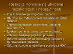 reakcija komisije na utvr ene nezakonitosti i nepravilnosti