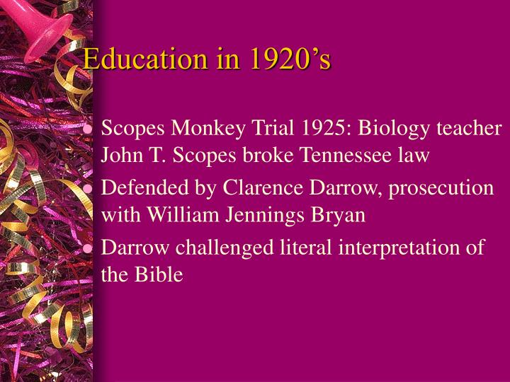 Education in 1920's