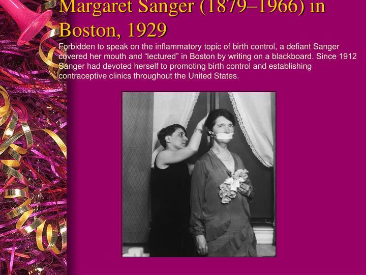 Margaret Sanger (1879–1966) in Boston, 1929