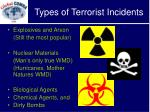 types of terrorist incidents