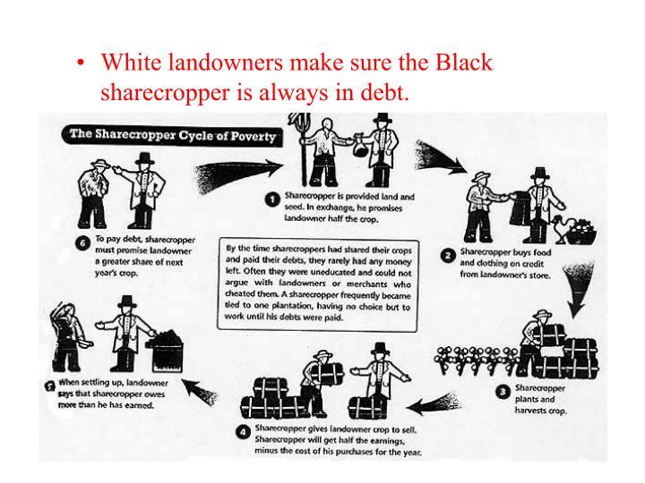 White landowners make sure the Black sharecropper is always in debt.