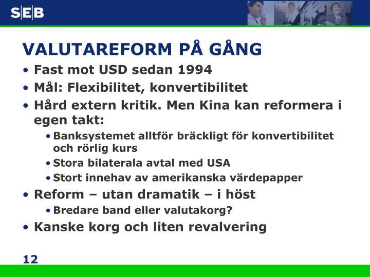 VALUTAREFORM PÅ GÅNG