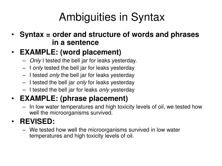 Ambiguities in Syntax