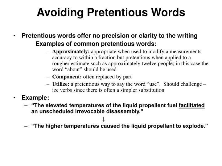 Avoiding Pretentious Words