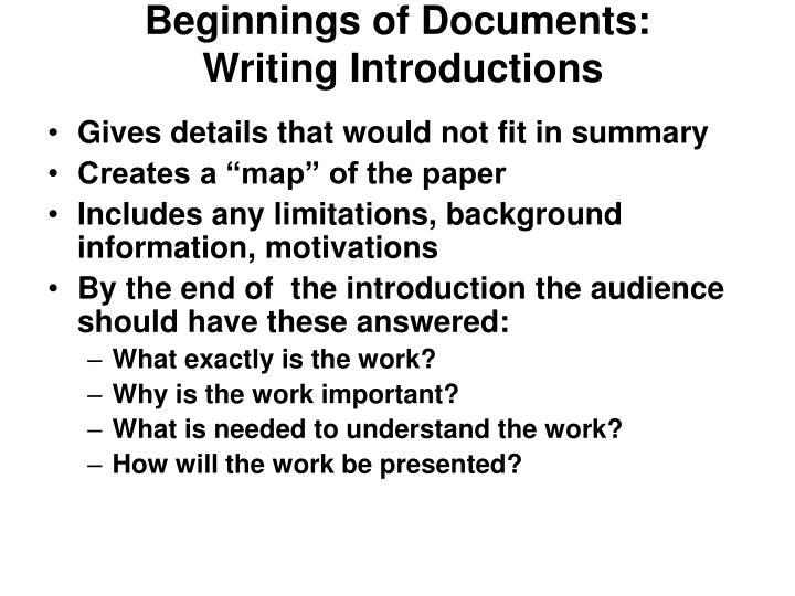 Beginnings of Documents: