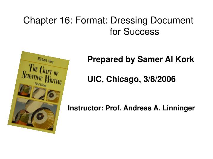 Chapter 16: Format: Dressing Document