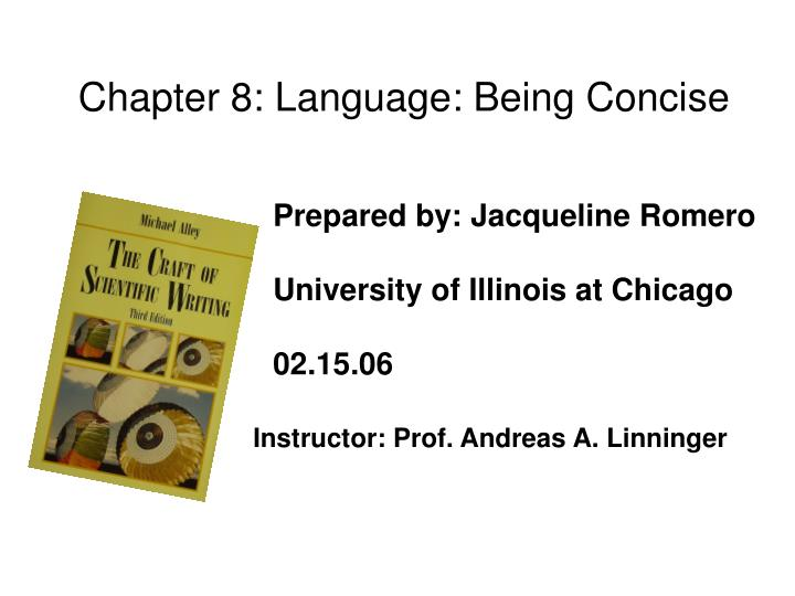 Chapter 8: Language: Being Concise