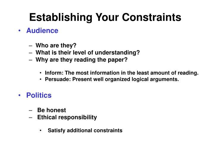 Establishing Your Constraints