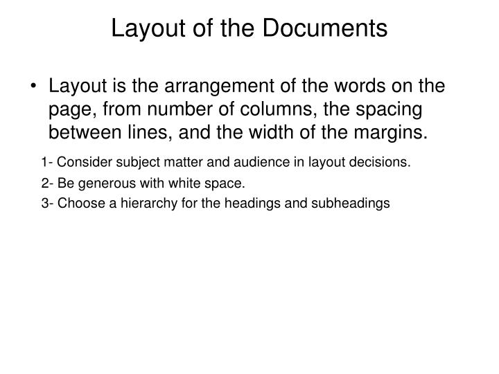 Layout of the Documents