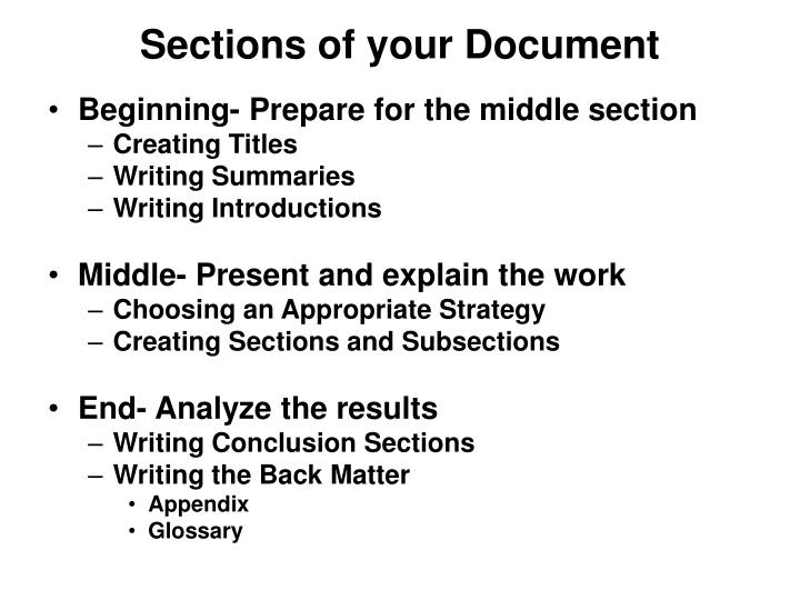 Sections of your Document