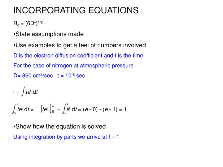 INCORPORATING EQUATIONS