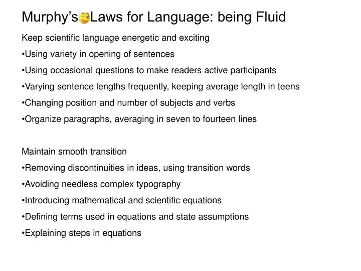 Murphy's   Laws for Language: being Fluid