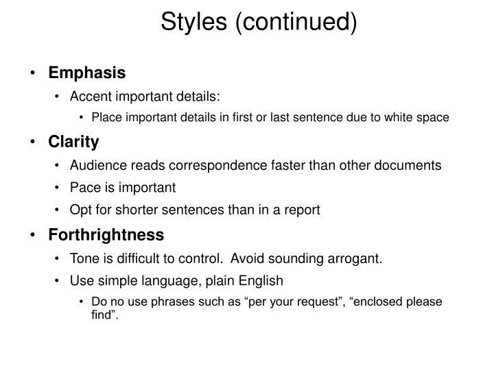 Styles (continued)