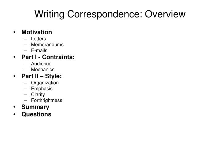 Writing Correspondence: Overview