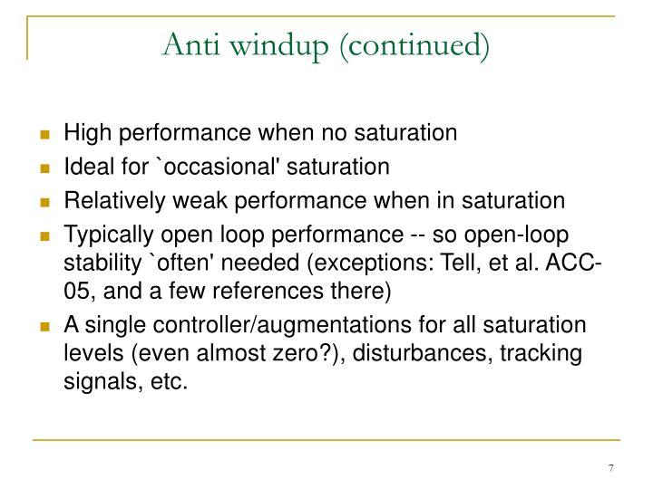 Anti windup (continued)