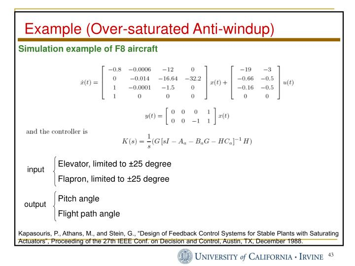 Example (Over-saturated Anti-windup)