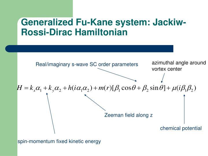 Generalized Fu-Kane system: Jackiw-Rossi-Dirac Hamiltonian