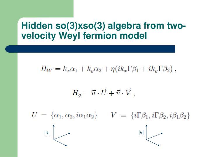 Hidden so(3)xso(3) algebra from two-velocity Weyl fermion model