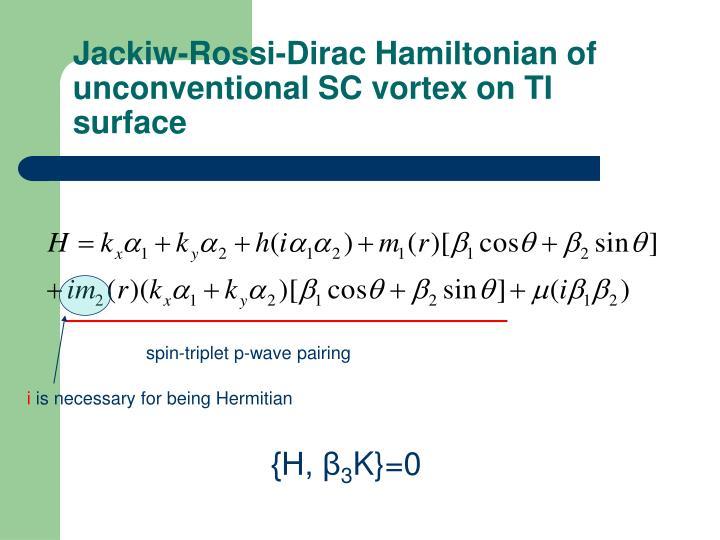 Jackiw-Rossi-Dirac Hamiltonian of unconventional SC vortex on TI surface